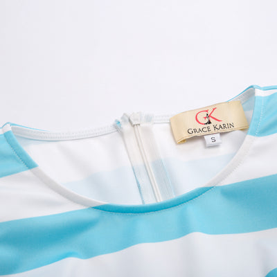 Women's Light Blue and White Stripe Pattern Pleated A-Line Party Dress