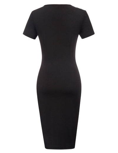 GRACE KARIN Women's Black Short Sleeve Asymmetric Neck Pleated Hips-Wrapped Body-con Pencil Dress