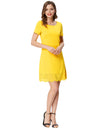 Grace Karin Women's Solid Color Short Sleeve Crew Neck Hollowed Bottom Dress_Yellow