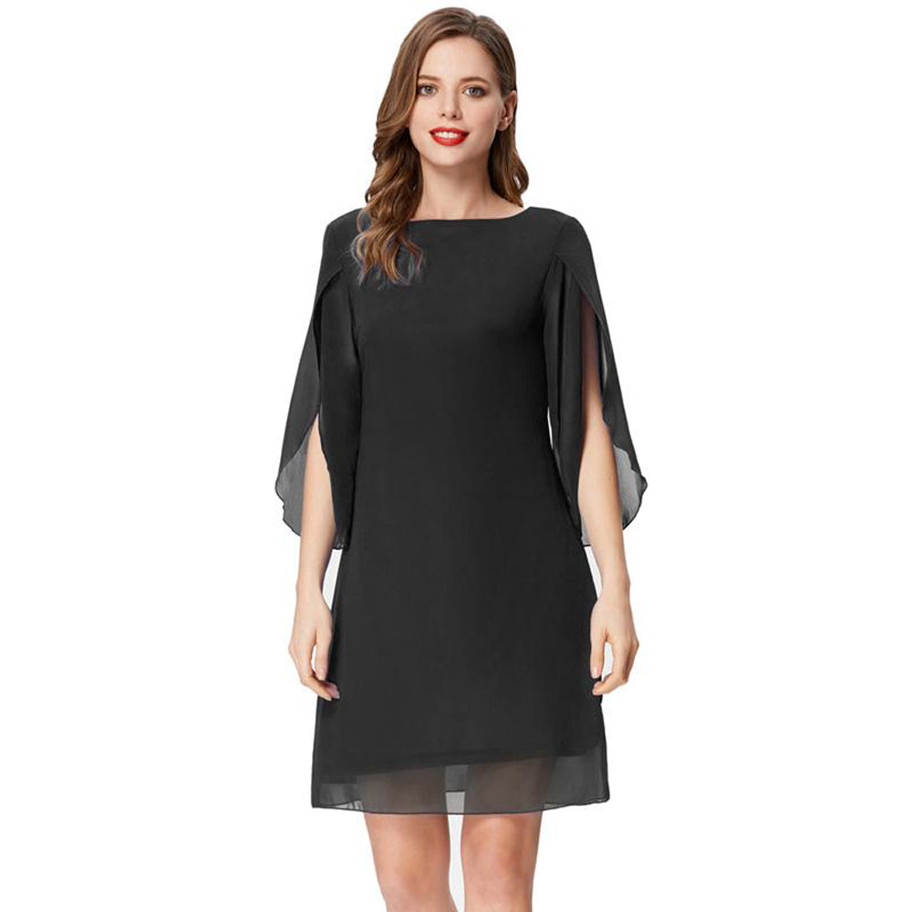 Sommer 3 / 4 Split Sleeves Scoop Neck Komfortables Chiffon-Kleid