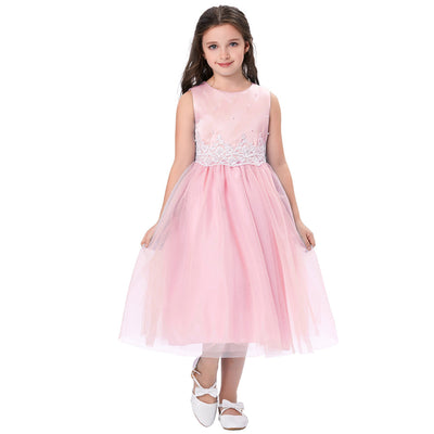 Grace Karin Tea Length A Line Sleeveless Round Neck Flower Girl Dress With Appliques / Faux Pearls_Pink