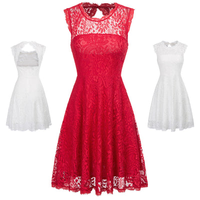 Red and Ivory Hollowed Back A-Line Flora Lace Cocktail Party Dress