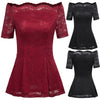 GRACE KARIN Sexy Women's Wine Red and Black Short Sleeve Off the Shoulder High Stretchy A-Line Floral Lace Tops