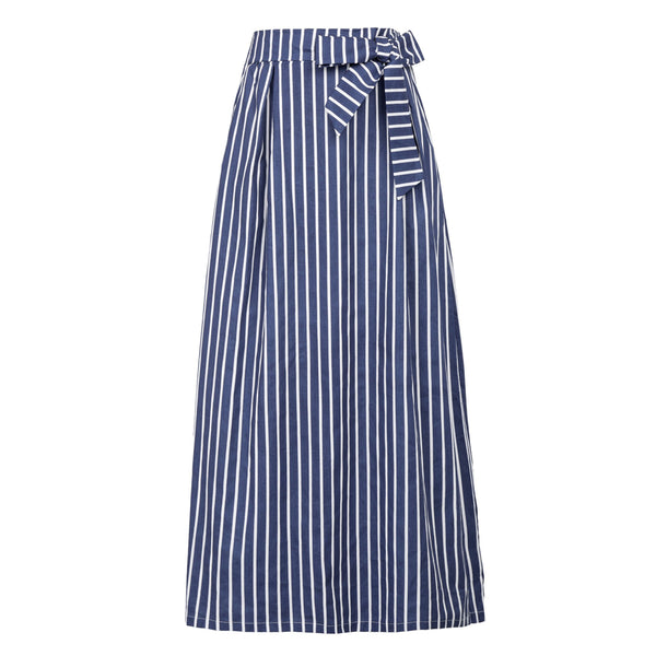 Women's Striped Full Length Elastic Waist Long Cotton Skirt