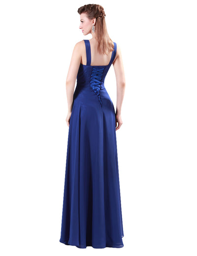 Stock Deep V-Neck Chiffon Ball Gown Evening Prom Party Dress