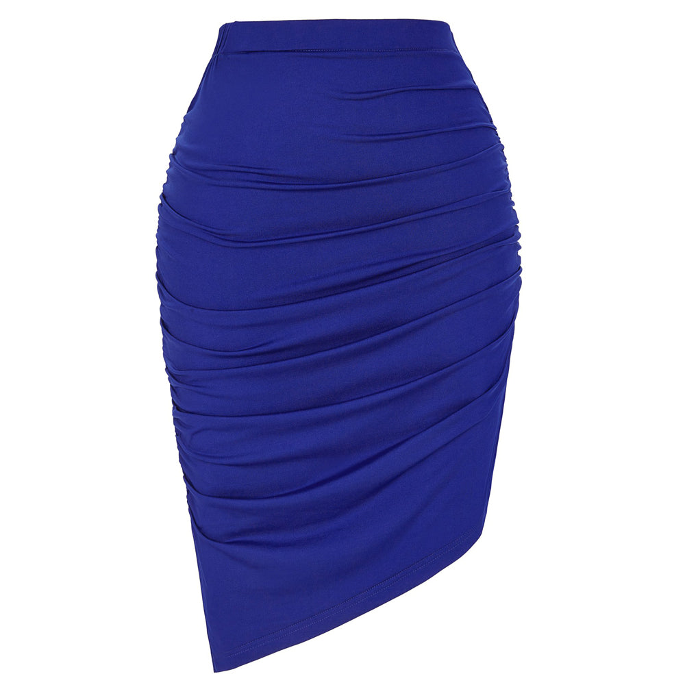 Pencil Skirt Solid Blue High Stretchy Irregular Pleated Cheap
