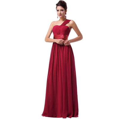 Grace Karin Full-Length Lace Up One Shoulder Ruffles Bridesmaid Wedding Party Evening Dress_Wine Red