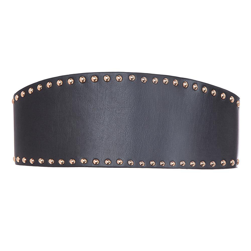 GK Women Ladies 12cm Classic Buckle Studs Decorated Polyurethane Leather Belt