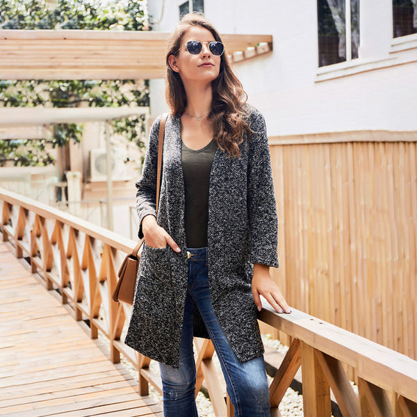 Women's Autumn Fashion Long Sleeve Cardigan Coat Sweater Pockets Tops