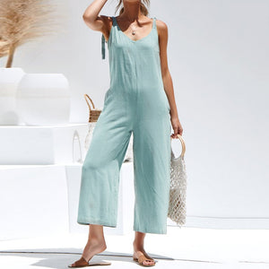 Women's Summer Party Jumpsuit Romper - V-Neck, Loose with Spaghetti Straps