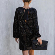 Load image into Gallery viewer, Long Sleeved Sequined Hollow Out Dress