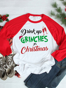 Women Christmas Raglan Sleeve Letter Print T Shirt Round Neck Casual Tops