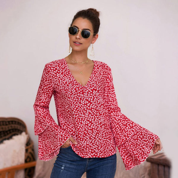 Women Tops Blouse Summer New V-Neck Long Bell Sleeve Floral Fashion Sweet