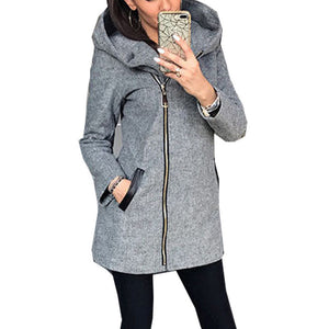 Women's Hooded Zipper Casual Coat Pocket Long Sleeve Thick Warm Overcoat