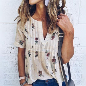 Stylish Short-sleeved V-neck Printed Casual Loose T-shirt