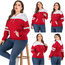 Load image into Gallery viewer, Women's Large Size Stitching Hooded Pocket Sweater Long Sleeve Pullover Tops