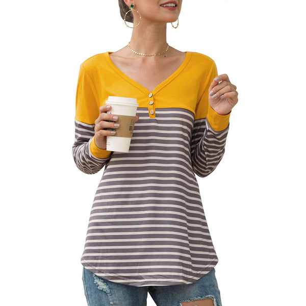 Mujeres Tops Camisetas Cuello en V Manga larga Raya Slim Fit Splice Button Fashion
