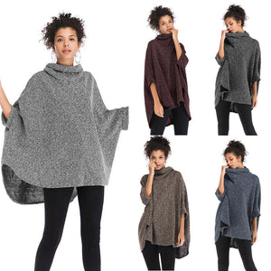 Women's Casual Turtleneck Sweater Loose Batwing Sleeve Knitwear Irregular Cloak