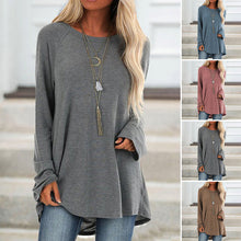 Load image into Gallery viewer, Women Casual Loose Round Neck Tops Long Sleeve T-Shirt Plus Size Solid Color