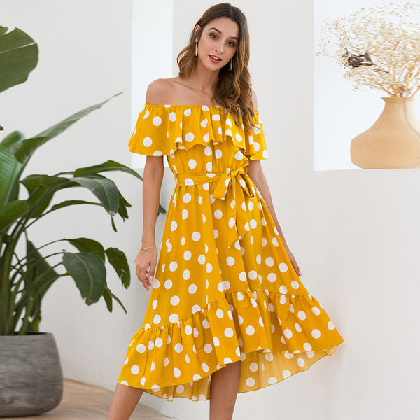 Fashion Summer Neck Neck Dot Lace-Up Yellow Fashion Ruffled New Midi Dress