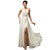 Beige Halter Backless High Split Long Mermaid Formal Evening Dress