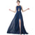 Fashion Navy Blue Sleeveless Backless Split Floor-Length Evening Dress