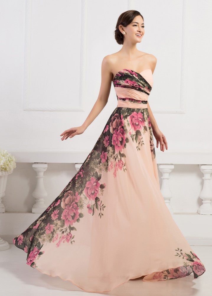 Grace Karin Popular Strapless Sweetheart Neckline Floral Print Flower Patterns Floor-Length Chiffon Bridesmaid Evening Dress