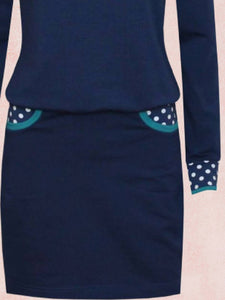 Deep Blue Long Sleeve Polka Dots Turtleneck Dresses