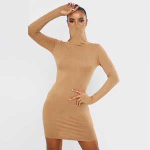 High Collar Slim Dress