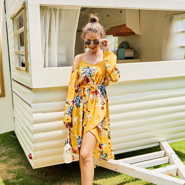 Women's Fashion Yellow Off-the-shoulder Dress Irregular Long-sleeved Lace-up