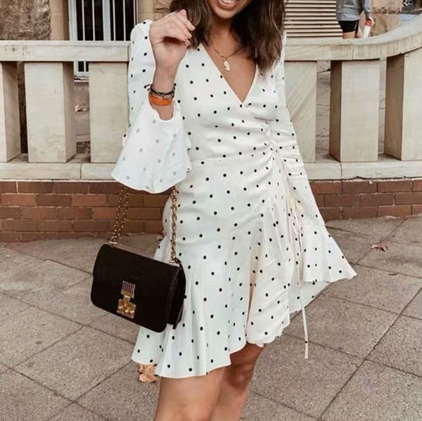 V-Neck Polka Dot Printed Ruffled Lace-Up Dress - PRESALE