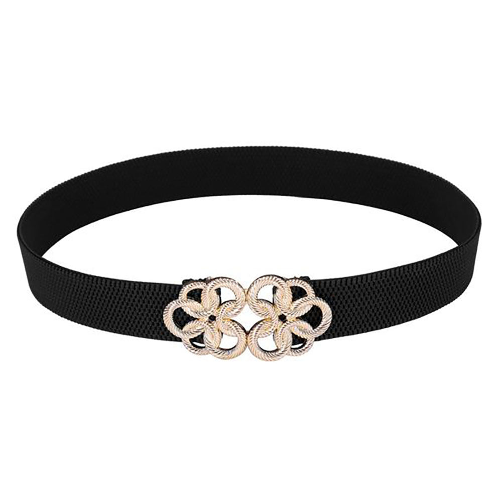 Elastic Polyester Women's Belt - with Golden Floral Interlock