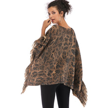 Load image into Gallery viewer, Women Fashion Tassels Tiger Printed Bat Sleeve Sweater Cape Shawl Knitwear Coat