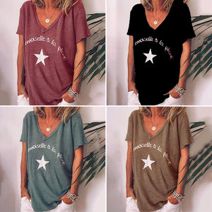Printed V-neck Loose Short Sleeve Plus Size T-shirt