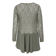 Load image into Gallery viewer, Lace Panel Long Sleeve Casual Transparent Lace Top
