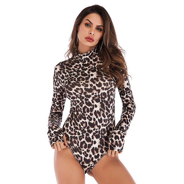 Women's Sexy Slim Leopard Snake Print Bodysuit Half-Turtleneck Long Sleeve