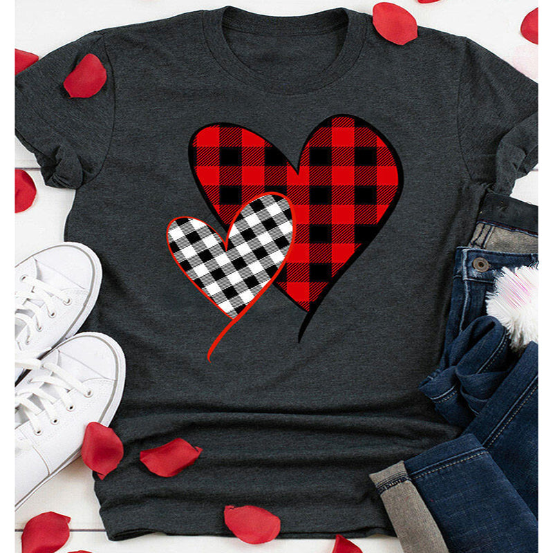 Plaid Stitched Heart Print Round Neck Short Sleeve T-shirt - PRESALE