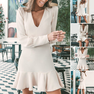 Women Elegant Short Dress V-neck Long Lantern Sleeve Ruffled Vacation Beach