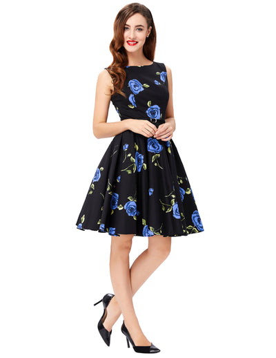 Grace Karin A Line Boatneck Floral Print Sleeveless Swing Vintage Dress With Belt_Rose