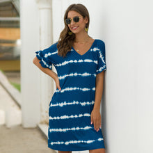 Load image into Gallery viewer, Women Casual Pocket Wavy Stripes Dress Color Matching Loose Short Sleeve V-neck