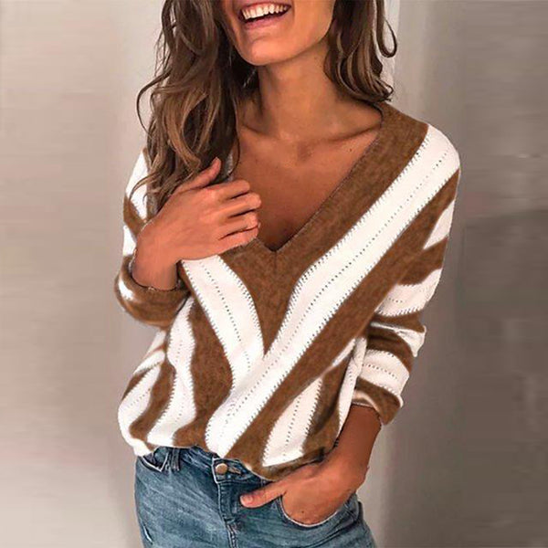 Winter Women Striped Sweater Outdoor Knitwear Tops V-neck Long Sleeve Loose new