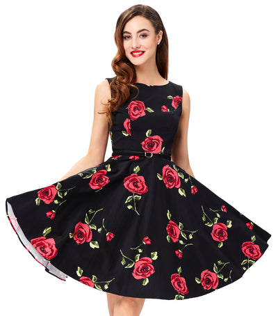 Floral Print Sleeveless Boat-Neck Swing Vintage A Line Dress With Belt