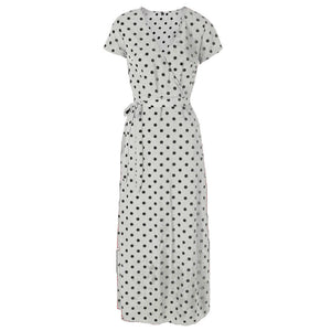 Women's Sexy Slim V-Neck Dress Short Sleeve Beach Holiday Party Split Polka Dots