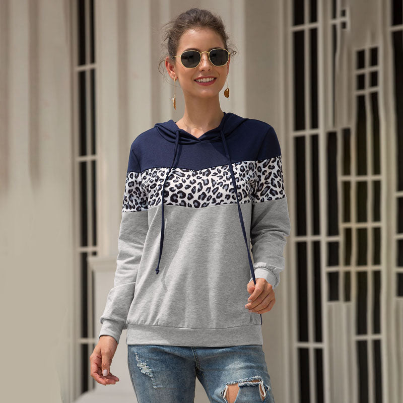 Women Sweatershirt Tops Pullover Hooded Long Sleeve Leopard Splice Fashion