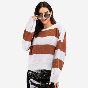 Women's Winter Casual Round Neck Sweater Knitwear Tops Loose Striped Pullover