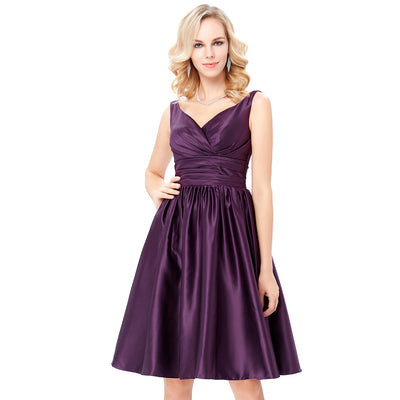 Grace Karin Women's Purple Satin Sleeveless V-Neck Knee-Length Ball Gown Evening Prom Party Dress