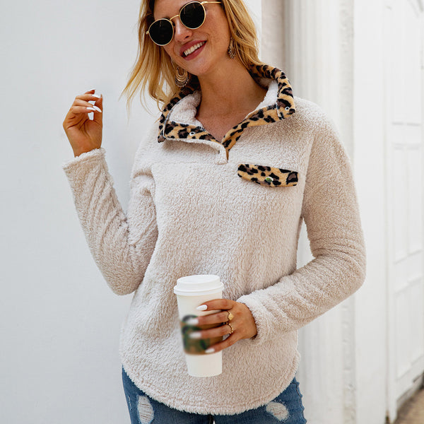 Women Sexy Leopard Print Tops Sweatshirts Button Long Sleeve Warm Casual