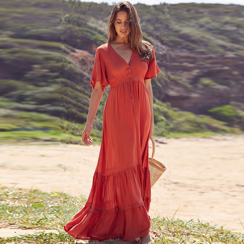 Women's Summer Boho Maxi Dress - Ruffled, Splice V-Neck, Beach