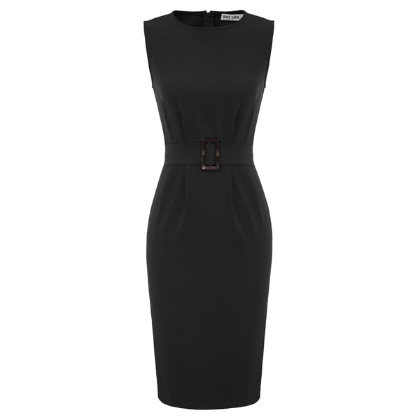 GK Women Sleeveless Belt Decorated Back Split Hips-Wrapped Bodycon Pencil Dress