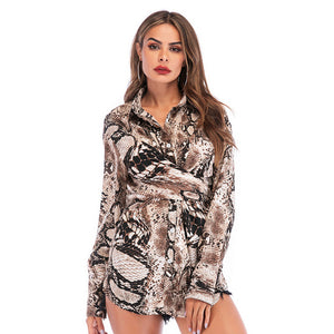 Women's Snake Print Shirt Long Sleeve Mid-length Lapel Slim Fit Casual Tops